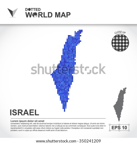 Map Of Israel Dotted Vector - stock vector