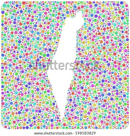 Map of Israel - middle east - into a square icon. Mosaic of harlequin circles - stock vector