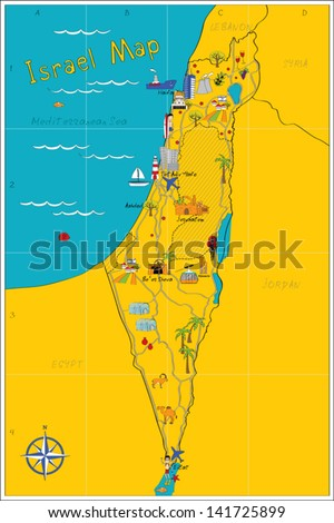Map of Israel's sights - stock vector