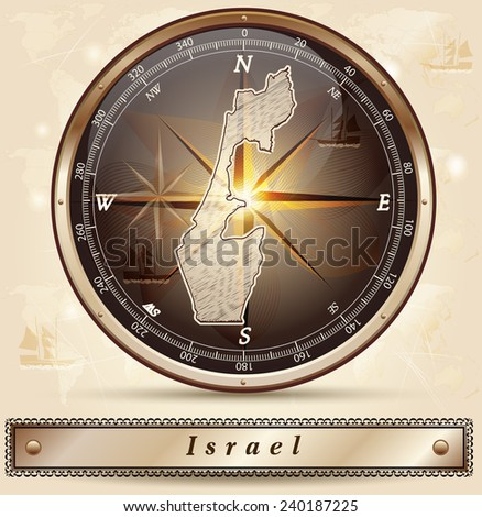 Map of Israel with borders in bronze - stock vector