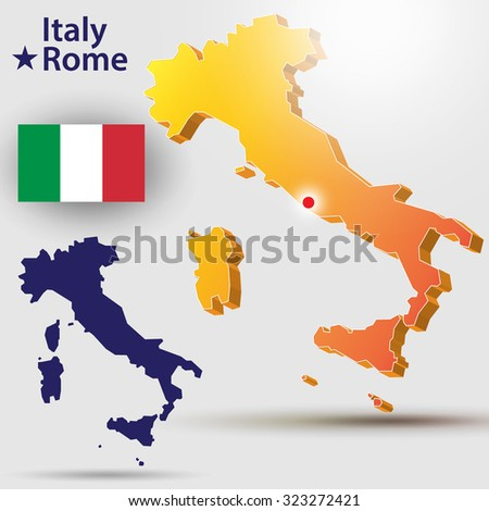 Map of Italy. Vector silhouette of the Italian flag. The country's capital - Rome.