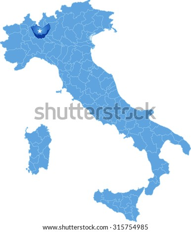 Map of Italy where Milano province is pulled out, isolated on white background