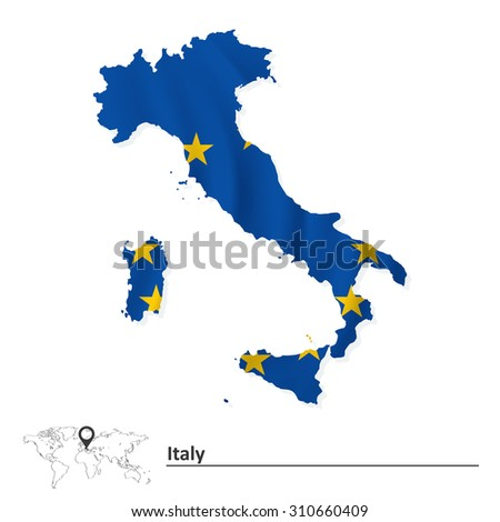 Map of Italy with European Union flag - vector illustration - stock vector