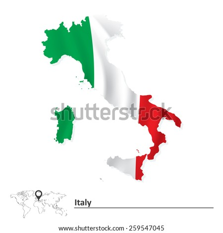 Map of Italy with flag - vector illustration - stock vector