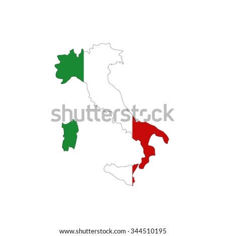 Map of Italy with national flag isolated on white background - stock vector