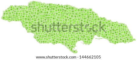 Map of Jamaica - America - in a mosaic of green squares. A number of 3873 little squares are accurately inserted into the mosaic. White background.