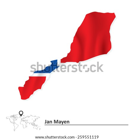 Map of Jan Mayen with flag - vector illustration