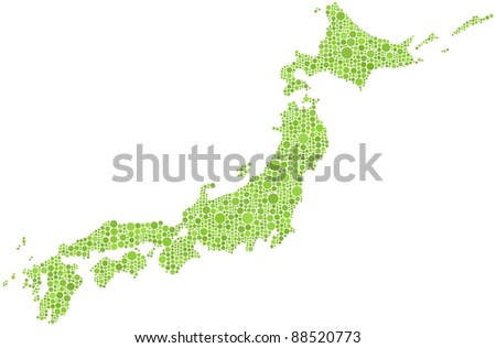 Map of Japan in a mosaic of  1565 circles