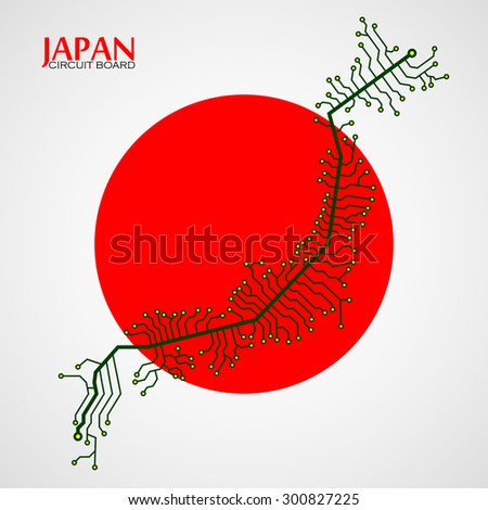 Map of Japan with electronic circuit. Technology background. Vector illustration. Eps 10 - stock vector