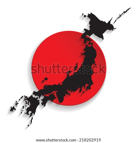 Map of Japan with the flag background. vector illustration - stock vector
