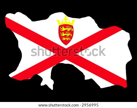 map of Jersey and their flag illustration - stock vector