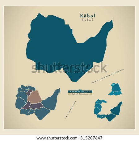 Map Kabul Afghanistan Capital Districts Stock Vector 315207647 ...
