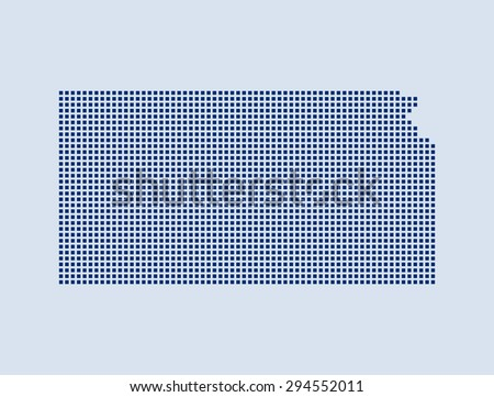 map of Kansas - stock vector