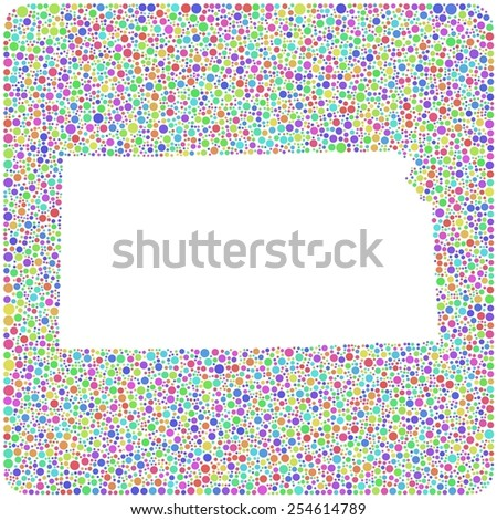 Map of Kansas - USA - into a square colored icon. Mosaic of harlequin circles - stock vector