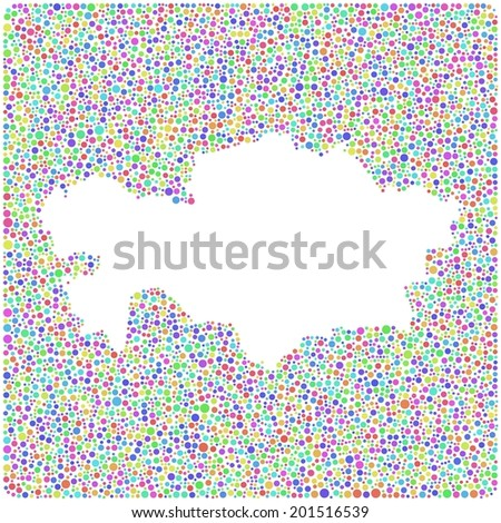 Map of Kazakhstan - Asia - into a square icon. Mosaic of colored bubbles. - stock vector