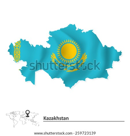 Map of Kazakhstan with flag - vector illustration - stock vector