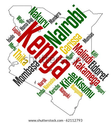 Map of Kenya and text design with major cities - stock vector