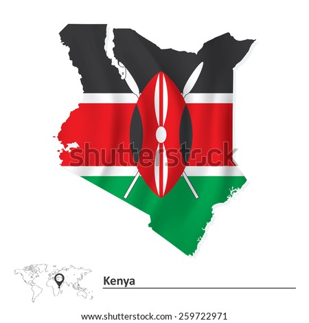 Map of Kenya with flag - vector illustration
