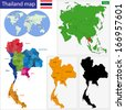 Map of Kingdom of Thailand with the provinces colored in bright colors - stock