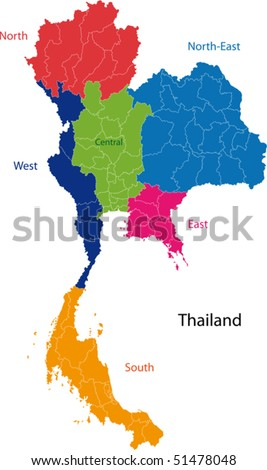 map kingdom thailand provinces colored bright stock photo photo rh shutterstock com