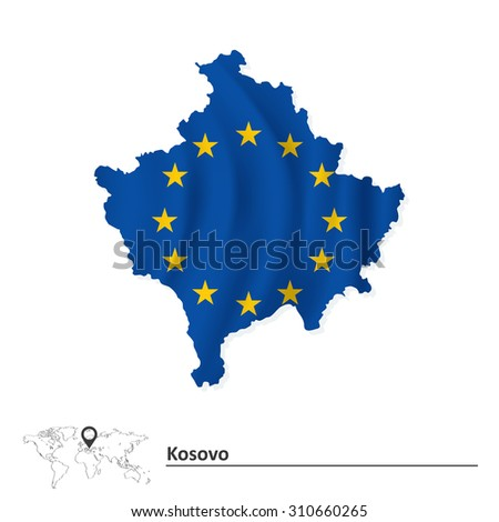 Map of Kosovo with European Union flag - vector illustration - stock vector