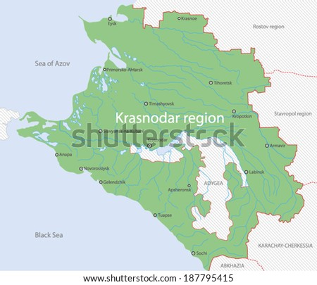 Map of Krasnodar Region