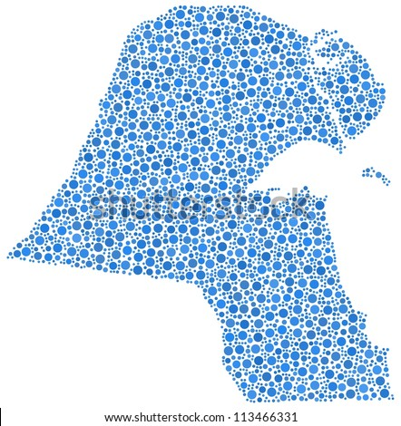 Map of Kuwait in a mosaic of blue circles. A number of 2784 bubbles are inserted into the mosaic - stock vector