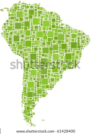 Map of Latin America in a mosaic of squares. A number of 1297 squares are inserted to form the mosaic - stock vector