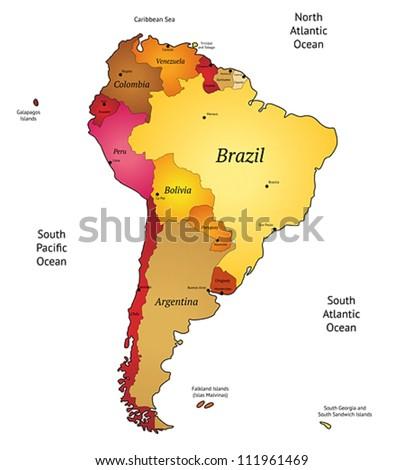Map of Latin America. Vector illustration. - stock vector