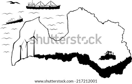 Map of Latvia with baltic sea. Fishing and cargo ships in water. Tractor and wind turbines on map - stock vector