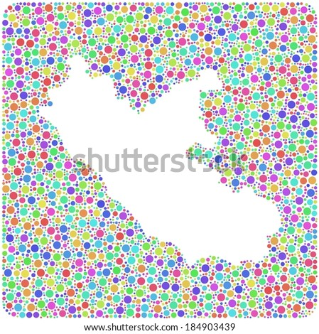 Map of Lazio - Italy - into a square icon. Mosaic of harlequin circles - stock vector