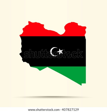 Map of Libya in Libya flag colors - stock vector