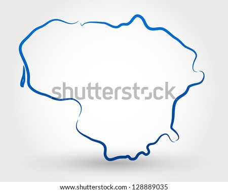 Yellow Outline Map Lithuania Stylized Concept Stock Vector - Lithuania map vector