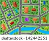 Map of little town or suburb village for real estate design. Jpeg version also available in gallery  - stock vector