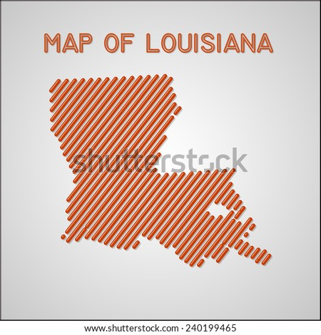 map of Louisiana. Transparency effects used. - stock vector