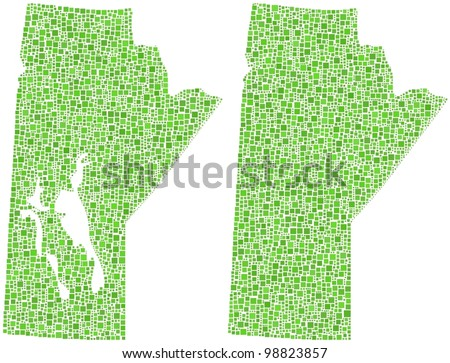 Map of Manitoba (Canada) in a mosaic of green squares