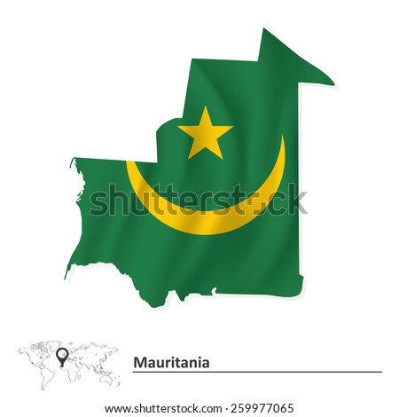 Map of Mauritania with flag - vector illustration - stock vector