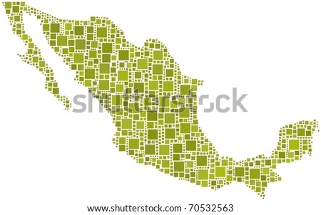Map of Mexico. A number of 1137 squares are inserted into the mosaic