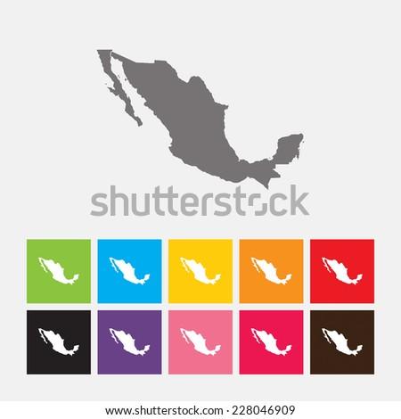 Map of Mexico icon - Vector - stock vector