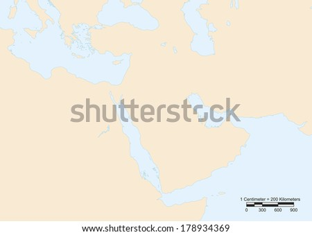 Map of Middle East with scale. Elements of this image furnished by NASA  - stock vector