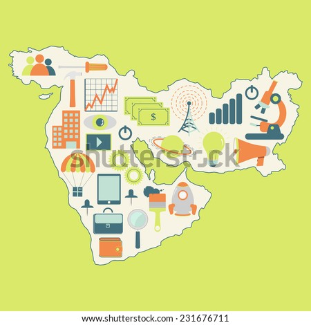 Map of Middle East with technology icons. Contour map of Middle East with icons of technology, business, science, communication - stock vector