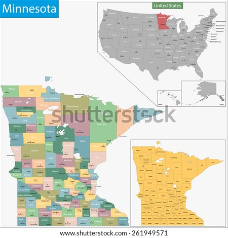 Map of Minnesota state designed in illustration with the counties and the county seats - stock vector