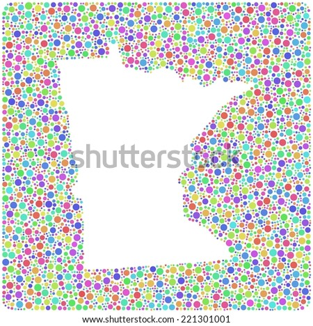 Map of Minnesota (USA) into a square colored icon. Mosaic of harlequin circles - stock vector