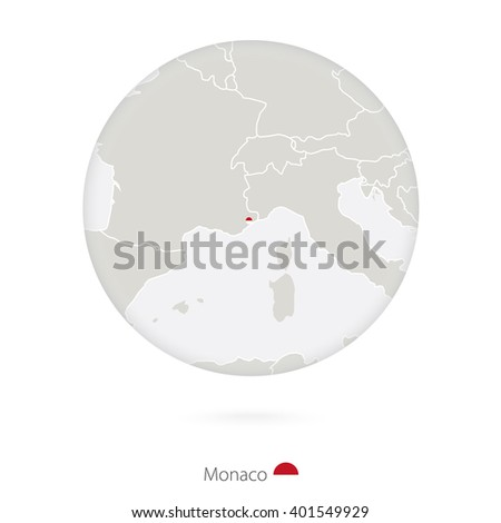 Map of Monaco and national flag in a circle. Monaco map contour with flag. Vector Illustration.