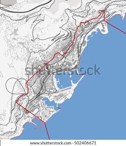 Map Monaco City Monte Carlo Roads Stock Vector 502406671 Shutterstock