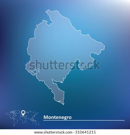 Map of Montenegro - vector illustration - stock vector