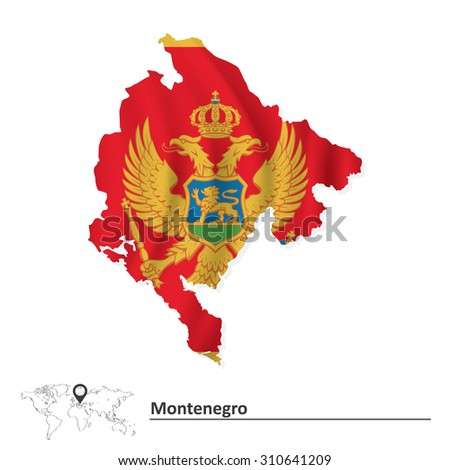 Map of Montenegro with flag - vector illustration - stock vector