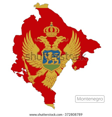 map of Montenegro with the flag. Europe  - stock vector
