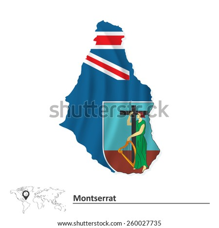 Map of Montserrat with flag - vector illustration - stock vector