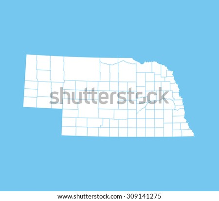 map of Nebraska - stock vector